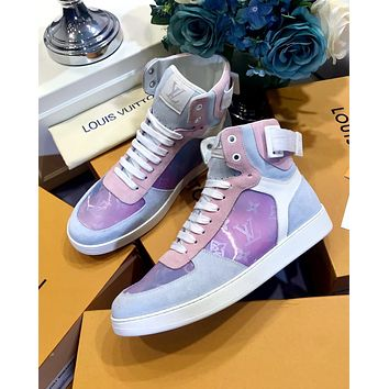 Bunchsun LV 2019 new colorful high-top belt flat casual shoes