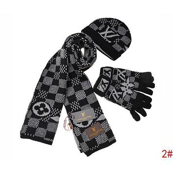 Onewel Louis Vuitton LV Autumn Winter Popular Retro Plaid Pattern Warm Knit Hat Cap Scarf Gloves Set Three Piece 2#