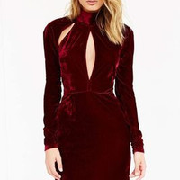 Hollow Bandage Sexy Gold Slim High Collar Neck Long Sleeve Erotic Casual Party Playsuit Bodycon Boho Dress _ 3644