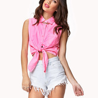 Tie-Front Twill Shirt | FOREVER 21 - 2040991284