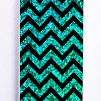 Mint Glitter And Chevron Pattern for Iphone 5 / 5s Hard Cover Plastic