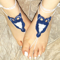 Barefoot Sandles Owl, Navy Sandals Designer, Indigo White Nude Summer Shoes, Beach Lace Up Foot Jewelry, Gothic Bohemian Hippie Sandals