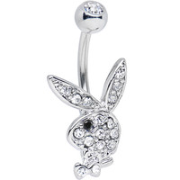 Licensed Clear Gem and Black Gem Eye Playboy Bunny Belly Ring | Body Candy Body Jewelry