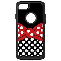 DistinctInk™ OtterBox Commuter Series Case for Apple iPhone or Samsung Galaxy - Black White Polka Dot Red Bow Minnie