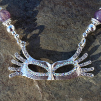 Silver Rhinestone Mardi Gras Mask Masquerade Statement Necklace Bracelet and Earrings Jewelry Set with Amethyst and Purple Mardi Gras Beads