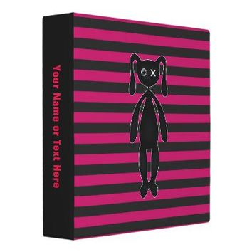 Goth Pink and Black Bunny 3 Ring Binder from Zazzle.com