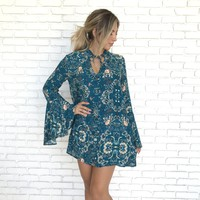 Teal Recognize Teal Floral Dress