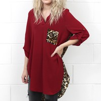 Wild About You Leopard Accent Tunic Blouse {Burgundy}