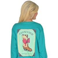 Prep in My Step Long Sleeve Tee in Tropical Green by Lauren James