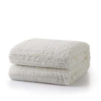 Tache White Ivory Polar Faux Fur with Sherpa Throw Blanket