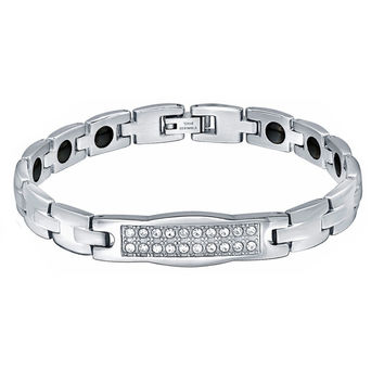 Stainless Steel Double Row Cubic Zirconia, Hematite Magnetic Therapy Bracelet