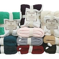 """Multiple Colors- Reversible - Sherpa/ Microplush Throw Blanket- 50""""x 60""""-Grey - Exclusively by Blowout Bedding RN# 142035"""