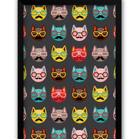 Quirky Moustache Cats Pattern Laminated Framed Poster