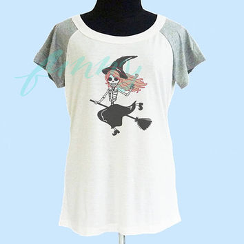 Witch skeleton t shirt wide neck thin t shirt** off white grey women t shirt size S M L **quote shirt **cute tshirts