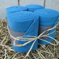 Set of 4 Polo Wraps for Horses- Turquoise with Light Grey Velcro Closure