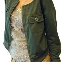 Ladies Long Sleeve Round Neck Cropped Jacket Army Green XS