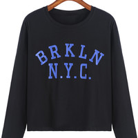 Black Letters Print Long Sleeve Cropped T-Shirt