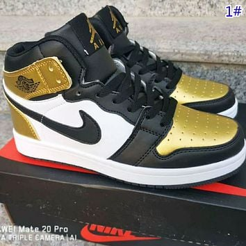 NIKE Air Jordan 1  New fashion hook high top couple shoes 1#
