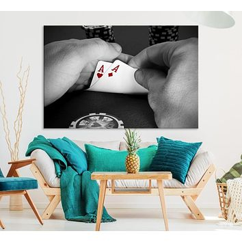 Large Poker Game Wall Art Lucky Aces Canvas Print