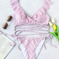 Striped Ruffle V Neck Strappy Bikini Set -SheIn(Sheinside)