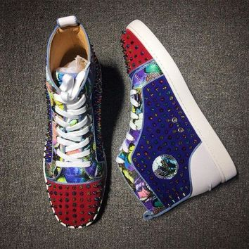 DCCKU62 Cl Christian Louboutin Louis Spikes Mid Style #1815 Sneakers Fashion Shoes