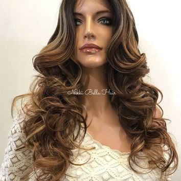 Balayage Praline Curly Human Hair Blend Deep Silk Top Parting Lace Front Wig - Lefkyia 61017 11