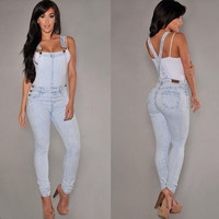 Hole denim overalls, sling Siamese jeans [8403192391]