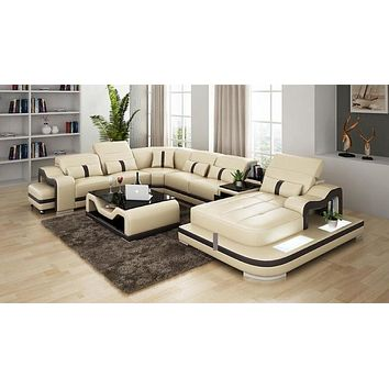 Classic Desire Luxurious Leather Sectional Sofa Set