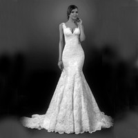 Vestidos De Novia Mermaid  Wedding Dresses 2016 Sexy Ivory Lace Applique V Neck Sleeveless Fall Cheap Bridal Gowns For Women