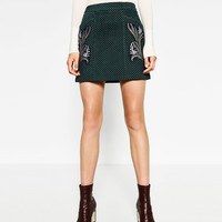 PRINTED LEATHER A-LINE SKIRT DETAILS