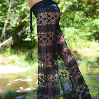 boho gypsy festival dance beach crochet lace horizontal pattern pants w drawstring