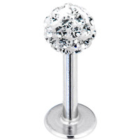 16 Gauge Clear Ferido Ball Labret Monroe Tragus MADE WITH SWAROVSKI ELEMENTS | Body Candy Body Jewelry