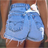 Denim Shorts Retro Blue Ripped Jeans
