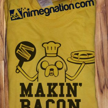 Trendy Pop Culture Adventure Time Jake Making Makin Bacon and Pancakes tee t-shirt tshirt Toddler Youth Adult Unisex Ladies Female All Sizes