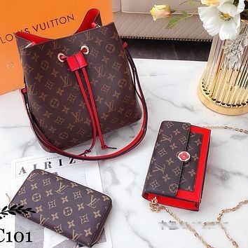 LV Louis Vuitton Bucket bag Shoulder Bag Wallet Three Piece Suit Coffee LV Print Red
