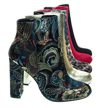 Living23 Embossed & Embroidery Block Heel Ankle Bootie w Faux Fur Lining