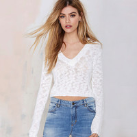 White Deep V-Neck Long Sleeves Knit Pullover Sweater