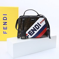 FENDI WOMEN'S LEATHER MANIA HANDBAG INCLINED SHOULDER BAG