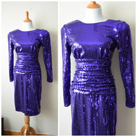 80s Tadashi Purple Sequin Cocktail Wiggle Dress w Plunging Scoop Back // Dynasty Glam, Jem & The Holograms Inspired Prom Dress // Size M / 8