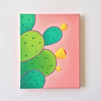 Cactus art, cactus painting, colorful wall art, bright wall art, original painting, green and pink art, 8 x 10