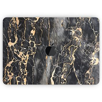 """Black and Gold Marble Surface - Skin Decal Wrap Kit Compatible with the Apple MacBook Pro, Pro with Touch Bar or Air (11"""", 12"""", 13"""", 15"""" & 16"""" - All Versions Available)"""