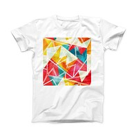 The Vintage Retro Overlap ink-Fuzed Front Spot Graphic Unisex Soft-Fitted Tee Shirt