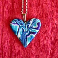 turquoise polymer clay heart pendant,multicolor necklace,bright colorful jewelry,gift for her,spring necklace,bohemian necklace,vibrant
