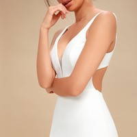 Belladonna White Backless Bodycon Midi Dress