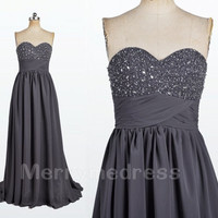 Beads Sweetheart Strapless Grey Long Bridesmaid Celebrity Dress,Court train Chiffon Formal Evening Party Prom Dress New Homecoming Dress