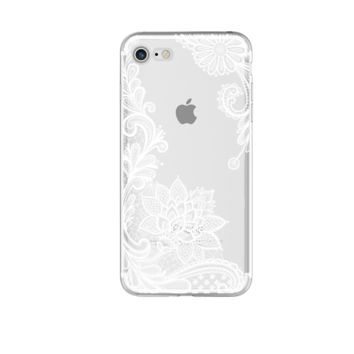 White and Clear Floral Phone Case For iPhone 7 7Plus 6 6s Plus 5 5s SE