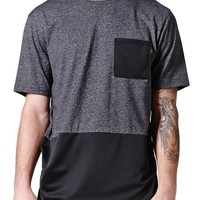 On The Byas Henry Mesh Pieced Crew T-Shirt - Mens Tee - Gray