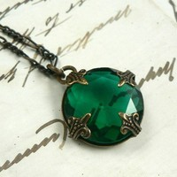 Eire emerald vintage jewel and natural brass filigree necklace | asilomarworks - Jewelry on ArtFire