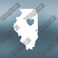 Illinois Heart Home Decal | I Love Illinois Decal | Homestate Decals | Love Sticker | Love Decal  | Car Decal | Car Stickers | 472