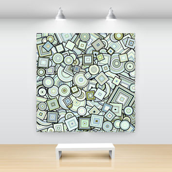 Green Blue Particle Circles and Squares Abstract Art, open edition print, large sizes, by San Francisco artist Kristin Henry